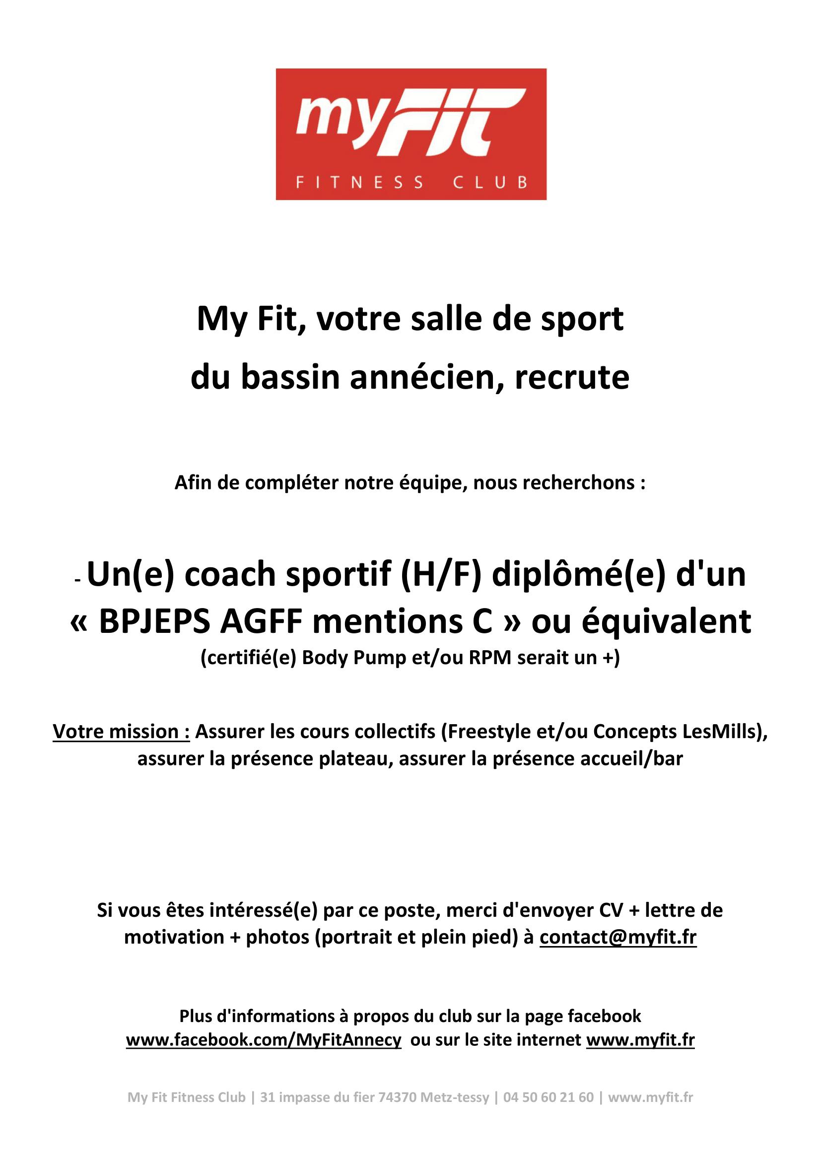 """Recrutement Coach Sportif """"BPJEPS AGFF mention C"""" ou équivalent"""